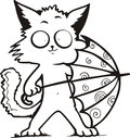 Funny kitty holding umbrella cartoon black and white vector illustration Stock Image