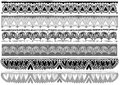 Funny lace set six grey scale Stock Images