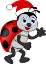 Funny lady bug cartoon xmas illustration of Stock Photography
