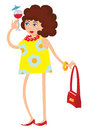 Funny lady girl in a yellow dress with a cocktail Stock Images
