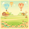 Funny landscape with farm and hot air baloons vector cartoon illustration Royalty Free Stock Photo