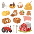 Funny landscape farm tools cartoon farming house symbols village animal agriculture vector illustration. Royalty Free Stock Photo