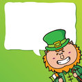 Funny leprechaun vector festive card with kawaii which is holding irish flag Royalty Free Stock Images