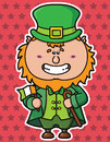 Funny leprechaun vector illustration of kawaii which is holding irish flag Royalty Free Stock Photo