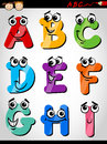 Funny letters alphabet cartoon illustration of capital from a to i for children education Royalty Free Stock Photos