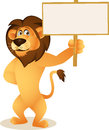 Funny lion cartoon with blank sign Royalty Free Stock Photo