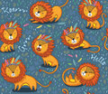 Funny lions seamless vector pattern with blue background