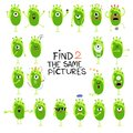 Funny little aliens illustration. Find two same pictures. Educational matching game for children