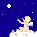 Funny little angel paint stars on dark blue background sit on cloud and multicolor Royalty Free Stock Image