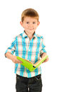 Funny little boy with book Stock Photos