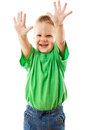 Funny little boy with raised hands isolated on white Stock Photography