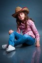 Funny little cowgirl image has attached release Stock Photography
