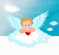 Funny little cupid aiming at someone illustration of a valentines day vector Royalty Free Stock Photo