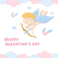 Funny little cupid with bow and arrow vector illustration of surrounded by clouds hearts Royalty Free Stock Image