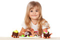 Funny little girl with cake white background Royalty Free Stock Images