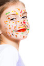 Funny little girl with colored face Stock Photo