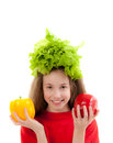Funny little girl with fresh vegetables beautiful isolated on white background Stock Images