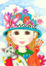 Funny little girl with hat Royalty Free Stock Photo