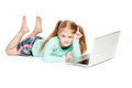Funny little girl with laptop computer young isolated on white background Royalty Free Stock Photography