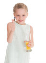 Funny little girl with the thumb up isolated on white background Royalty Free Stock Photo