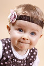 Funny little lady with headband toddler studio portrait Stock Photo