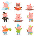 Funny little pigs in different situations set. Colorful cartoon characters vector illustrations