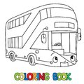 Funny London bus with eyes. Coloring book Royalty Free Stock Photo