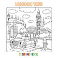 Funny London cab taxi. Coloring book for kids Royalty Free Stock Photo