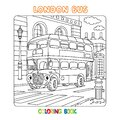 Funny London double decker bus. Coloring book Royalty Free Stock Photo