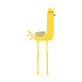 Funny long legged bird retro cartoon Royalty Free Stock Photo