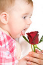 Funny looking little girl with rose Royalty Free Stock Image