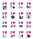 Funny love icon set vector illustration Royalty Free Stock Photos