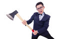 Funny man with axe on white Royalty Free Stock Photography