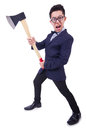 Funny man with axe on white Stock Photography