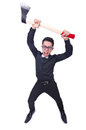 Funny man with axe on white Royalty Free Stock Images