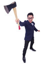 Funny man with axe on white Stock Photo