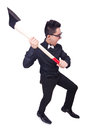 Funny man with axe on white Stock Image