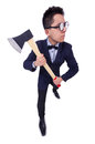 Funny man with axe on white Royalty Free Stock Photos