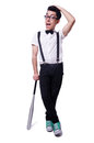 Funny man with baseball bat Royalty Free Stock Photo