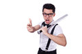 Funny man with baseball bat Stock Images