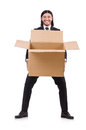 Funny man with boxes on white Stock Photography