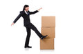 Funny man with boxes on white Royalty Free Stock Photography