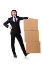 Funny man with boxes on white Royalty Free Stock Photo