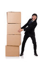 Funny man with boxes on white Royalty Free Stock Photos