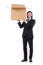 Funny man with boxes on white Stock Images