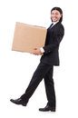 Funny man with boxes on white Royalty Free Stock Image