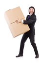 Funny man with boxes on white Stock Image