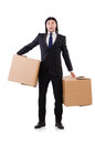 Funny man with boxes on white Stock Photos