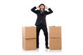 Funny man with boxes on white Stock Photo