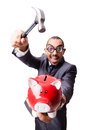 Funny man breaking his piggy bank Royalty Free Stock Photo